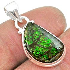 6.73cts natural multi color ammolite (canadian) 925 silver pendant t18969