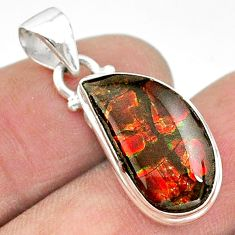 8.10cts natural multi color ammolite (canadian) 925 silver pendant t18970