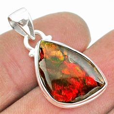 8.45cts natural multi color ammolite (canadian) 925 silver pendant t18971