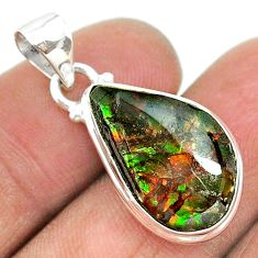 8.90cts natural multi color ammolite (canadian) 925 silver pendant t18986