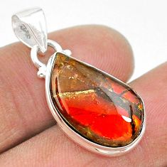 8.81cts natural multi color ammolite (canadian) 925 silver pendant t18993