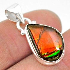 8.00cts natural multi color ammolite (canadian) 925 silver pendant t18994
