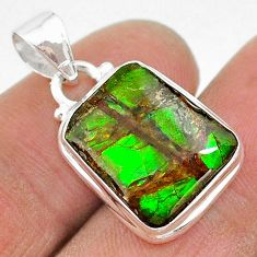 9.80cts natural multi color ammolite (canadian) 925 silver pendant t18996