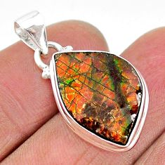 9.82cts natural multi color ammolite (canadian) 925 silver pendant t18997