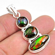 11.20cts natural multi color ammolite (canadian) 925 silver pendant t34842