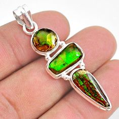 11.07cts natural multi color ammolite (canadian) 925 silver pendant t34845