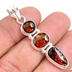 10.76cts natural multi color ammolite (canadian) 925 silver pendant t34847