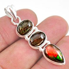 9.86cts natural multi color ammolite (canadian) 925 silver pendant t34850