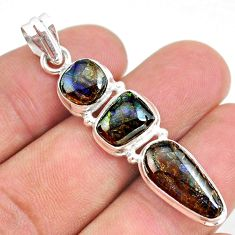 11.07cts natural multi color ammolite (canadian) 925 silver pendant t34851
