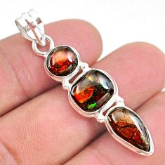 10.32cts natural multi color ammolite (canadian) 925 silver pendant t34853