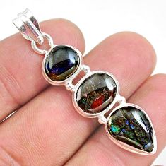 11.07cts natural multi color ammolite (canadian) 925 silver pendant t34859
