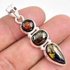 10.32cts natural multi color ammolite (canadian) 925 silver pendant t34860