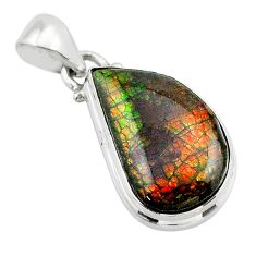 9.25cts natural multi color ammolite (canadian) 925 silver pendant t39517