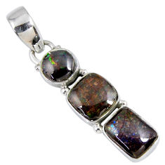 9.82cts natural multi color ammolite (canadian) cushion silver pendant r55685
