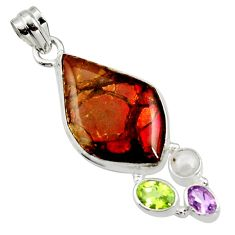 19.07cts natural multi color ammolite (canadian) pearl 925 silver pendant d44667