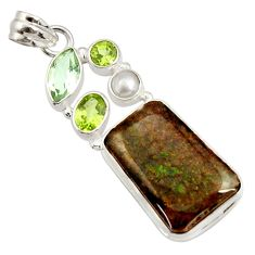 22.59cts natural multi color ammolite (canadian) pearl 925 silver pendant d44668