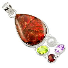 21.72cts natural multi color ammolite (canadian) pearl 925 silver pendant d44671
