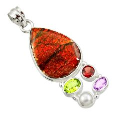 22.05cts natural multi color ammolite (canadian) pearl 925 silver pendant d44675