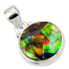 10.65cts natural multi color ammolite triplets 925 silver pendant r33691
