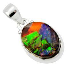 11.17cts natural multi color ammolite triplets 925 silver pendant r33700