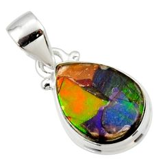 9.05cts natural multi color ammolite triplets 925 sterling silver pendant r33671