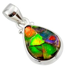9.22cts natural multi color ammolite triplets 925 sterling silver pendant r33672