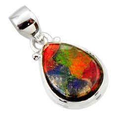 9.05cts natural multi color ammolite triplets 925 sterling silver pendant r33675