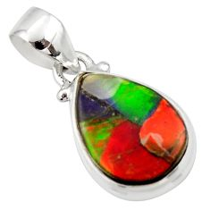 9.05cts natural multi color ammolite triplets 925 sterling silver pendant r33686