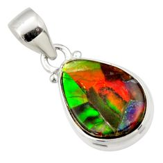 9.12cts natural multi color ammolite triplets 925 sterling silver pendant r33689
