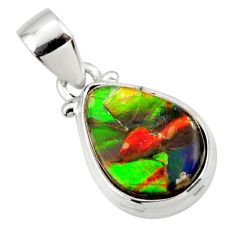 8.70cts natural multi color ammolite triplets 925 sterling silver pendant r33696
