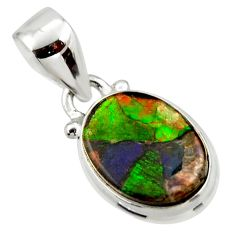 5.54cts natural multi color ammolite triplets 925 sterling silver pendant r33844