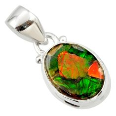 6.19cts natural multi color ammolite triplets sterling silver pendant r33664