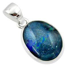 11.26cts natural multi color australian opal triplet 925 silver pendant r40176