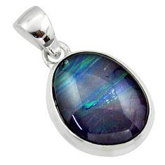 11.26cts natural multi color australian opal triplet 925 silver pendant r40177