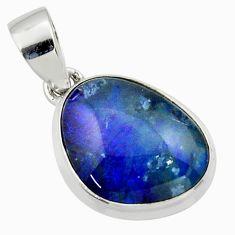 11.23cts natural multi color australian opal triplet 925 silver pendant r40183