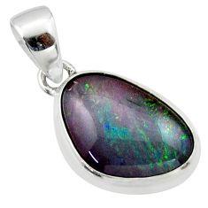 10.73cts natural multi color australian opal triplet 925 silver pendant r40185