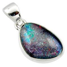 9.74cts natural multi color australian opal triplet 925 silver pendant r40186
