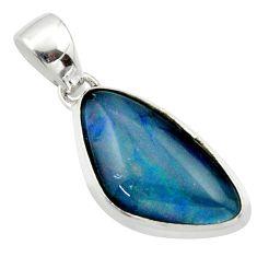 10.75cts natural multi color australian opal triplet 925 silver pendant r40191