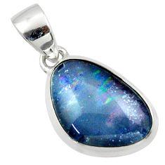 10.75cts natural multi color australian opal triplet 925 silver pendant r40195