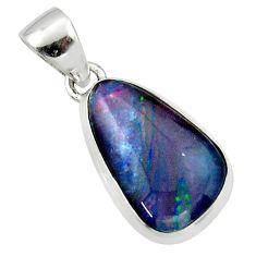 10.73cts natural multi color australian opal triplet 925 silver pendant r40199