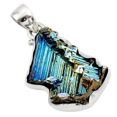 Clearance Sale- 14.20cts natural multi color bismuth crystal 925 sterling silver pendant d45427