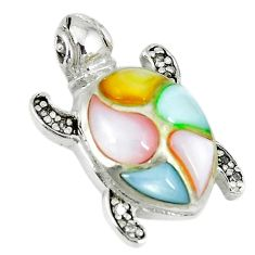 Natural multi color blister pearl topaz 925 silver turtle pendant a66695 c14730