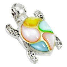 Natural multi color blister pearl topaz 925 silver turtle pendant a66698 c14739