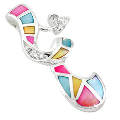 Natural multi color blister pearl topaz enamel 925 silver pendant a69697 c14736