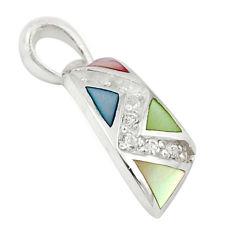 Natural multi color blister pearl topaz enamel 925 silver pendant a69748 c14625