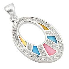 Natural multi color blister pearl topaz enamel 925 silver pendant a69774 c14723