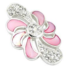 Natural multi color blister pearl topaz enamel 925 silver pendant a85426 c14734