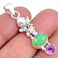 4.06cts natural multi color ethiopian opal 925 silver angel pendant r75445