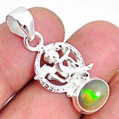 2.93cts natural multi color ethiopian opal 925 silver angel pendant r75451