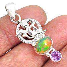 4.07cts natural multi color ethiopian opal 925 silver angel pendant r75471